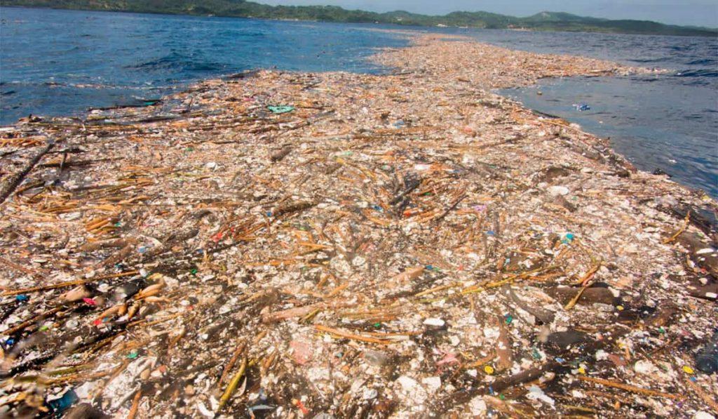 mar caribe -isla de plastico del pacífico